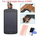 E960 tela de toque lcd com digitador assembléia + ferramentas para lg optimus google nexus 4 e960 substituição frete grátis!!!