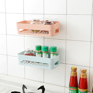 IKAYAA Strong Adhesive Shelf Punch-free Plastic Storage Rack Drain Basket for Bathroom Kitchen Organization Home Storage Rack