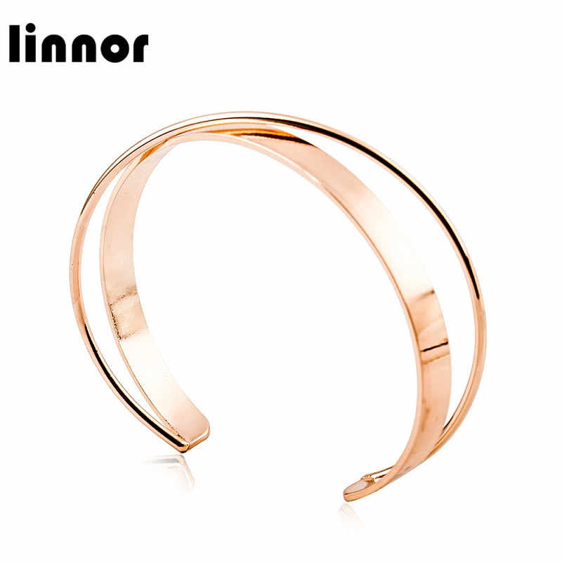 Linnor Luxury Stainless Steel Rose Gold Color Bracelets Bangles For Women Cuff Open Bangle Cordao Pulseras Mujer Braslet