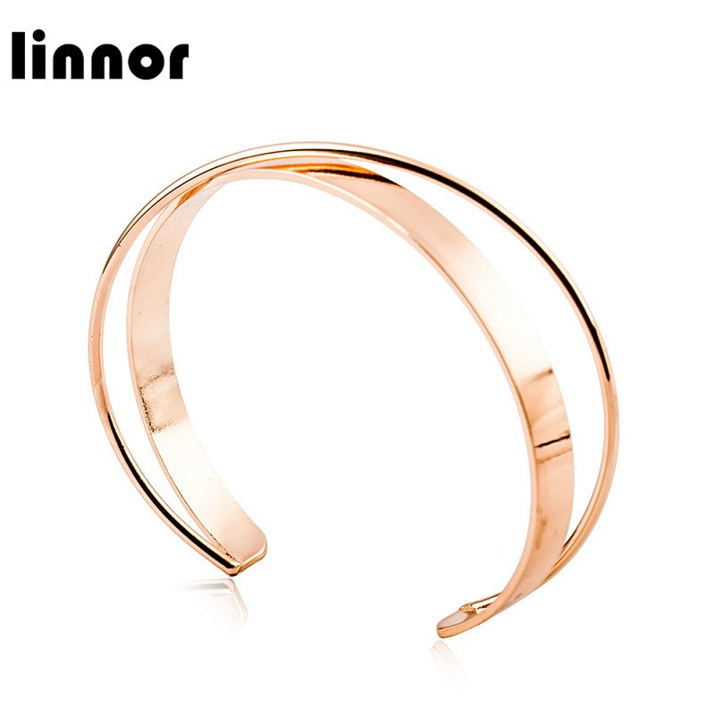 Linnor Luxury Stainless Steel Rose Gold Color Bracelets Bangles For Women Cuff Open Bangle Cordao Pulseras