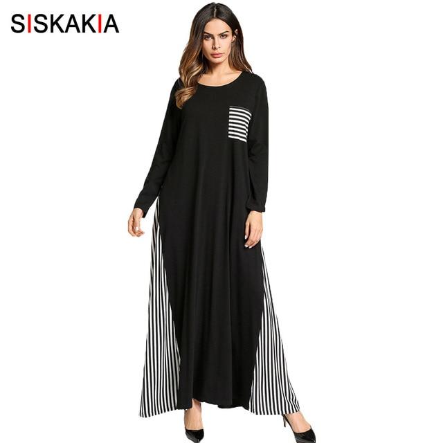 2ebb5a96a Siskakia الإمارات أزياء ملابس كاجوال النساء شريط خليط التصحيح تصميم ماكسي  فستان طويل سروال أسود رفيع