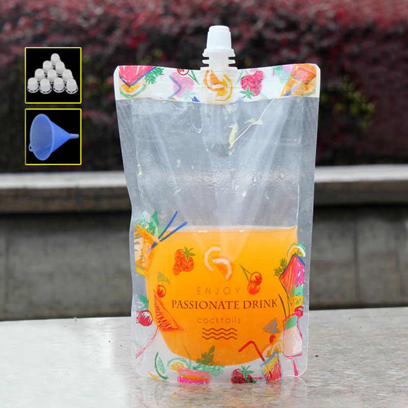 100 Pcs Pretty Flower Colorful Stand up Plastic Drink Packaging Spout Bag Pouch for Beverage Liquid Juice Milk Coffee 380ml