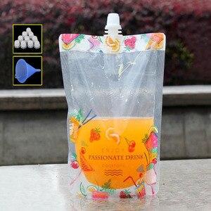 100 шт красивый цветок красочный стоячий пластиковый упаковочный пакет с носиком для напитков жидкий сок молочный кофе 380 мл