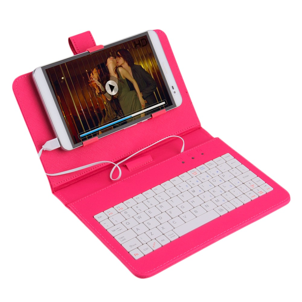 In stock! 7 inch Premium PU Leather Case Cover With USB Keyboard for Tablets/Phones 2 COLOR Newest