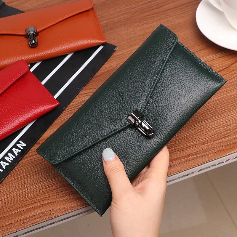 Women Genuine Leather Wallets Long Thin Lock Clutch Bag Cowhide Zipper Clutch Wallet Purse Carteira Feminina Bolsa Couro