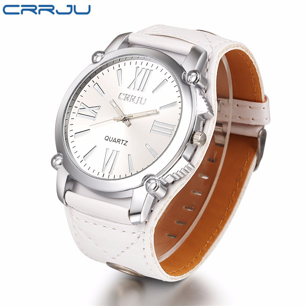 Top Brand CRRJU Quartz Watch Luxury Men Leather Strap Wrist watch Roman Vintage Style Business Watch