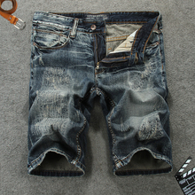 Italian Vintage Style Fashion Men Jeans Shorts Embroidery Designer Summer Denim Streetwear Hip Hop Short