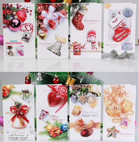 3d handmade christmas card 8 patterns new year greeting card creative flash powder paper card