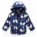 2017 Children's Down Jacket Long Sleeve Hooded Cute Cartoon Print All-match Kids Clothes  Zipper Jacket Outerwear