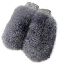 New Stylish Women Genuine Fox Fur Gloves Mittens Winter Warm Real Fur Mittens Wool Knitting Hand Warm Gloves Mittens