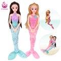 Ucanaan meimaid dolls com 20 acessórios de moda roupas vestidos de boneca brinquedo longo cabelo grosso corpo conjunta natal blyth lepin