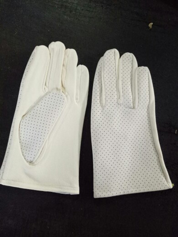 Натуральная замша игровой браслет из деревянных бусин перчатки толстые оленьей кожи Перфорированные дышащие белые кожаные перчатки S73 - Цвет: Leather punching