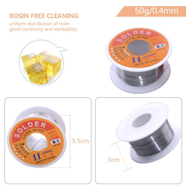 Solder Wire 0.3/0.4/0.5/0.6/0.8/1.0mm Diam 60/40 63/37 Clean Rosin Core Welding Tin Lead Solder Iron Wire Reel Soldering Tools  3
