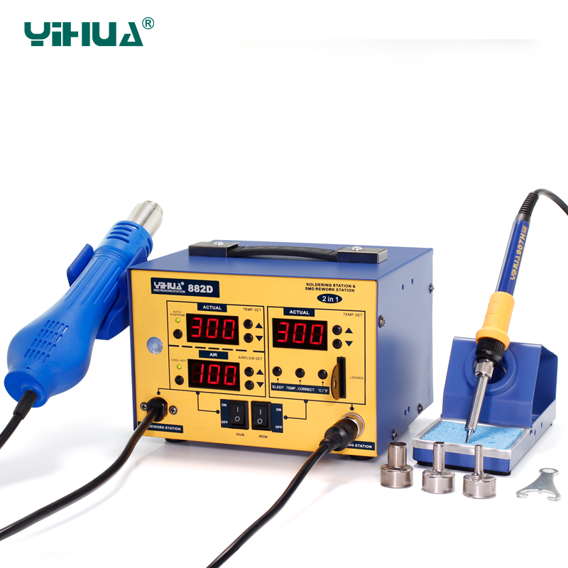 YIHUA 882D Hot Air Soldering Station With Card Locked Soldering Iron Station For Large Joint Solder esd safe 75w soldering handpiece t245a solder iron handle for di3000 intelligent soldering station