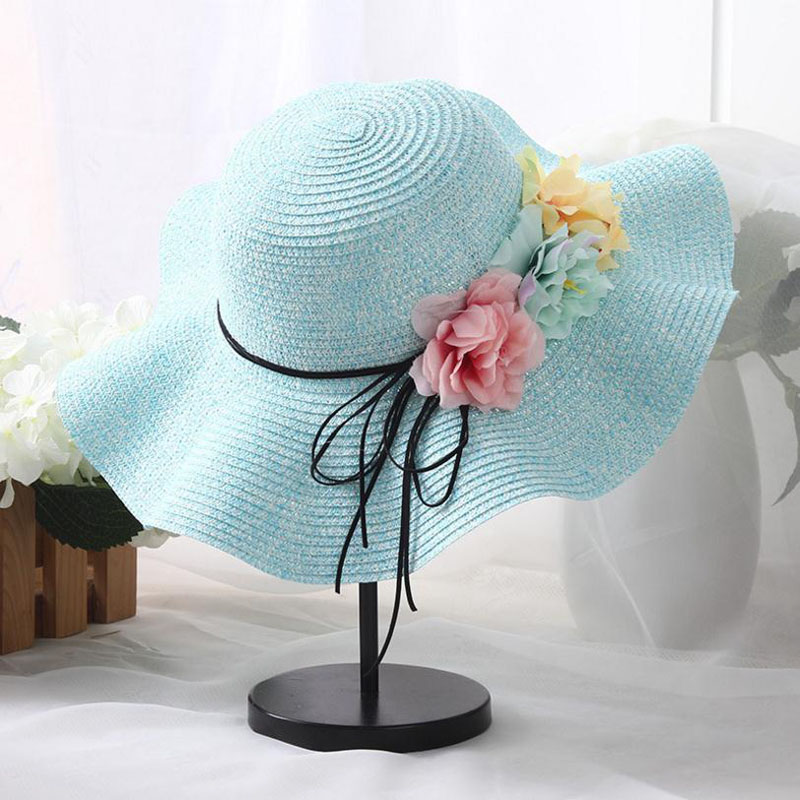 Lovely-Shop Retail 5 Colors Summer Children Flower Simple Wavy Large Brimmed Straw hat Boys Girls Beach Hats Parent-Child Sun hat,Green,for Adults