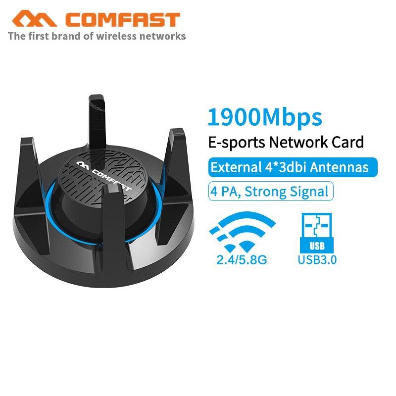 RTL8814AU 802.11 b/g/n/ac 1900 Mbps Gigabit carte réseau USB3.0 5.8G adaptateur WiFi sans fil 4 * 3dBi antenne WiFi pour Windows MAC OS