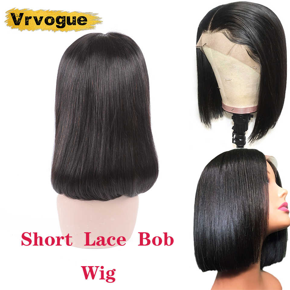 Vrvogue Short Lace Front Human Hair Bob Wigs For Black Women Malaysia Straight Lace Front Wig 4x4 Pre Plucked Remy Hair Wigs