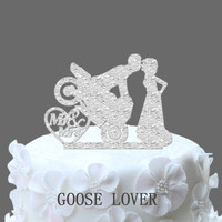 Motocross Cake Topper Bride And Groom Silhouette Mr And Mrs Acrylic Wedding Cake Topper Motorcircle Cake