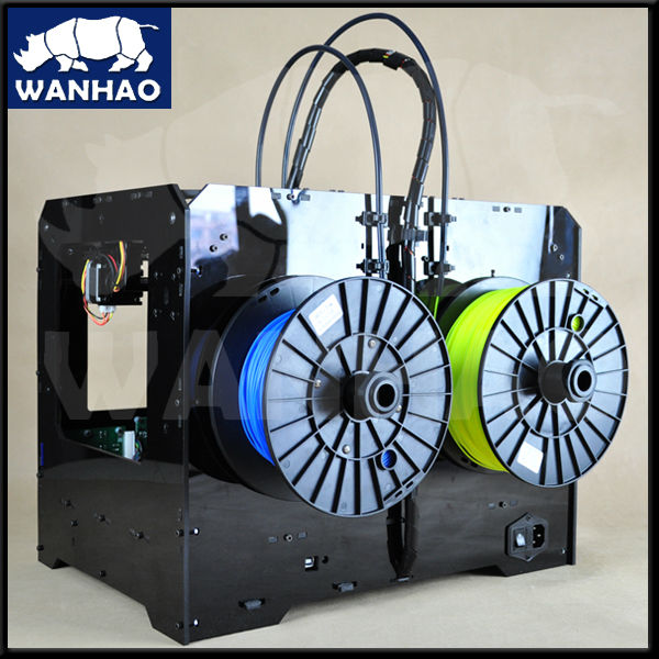 wanhao duplicator 4X  3d printer with dual extruders high quality flsun 3d printer big pulley kossel 3d printer with one roll filament sd card fast shipping