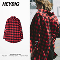 Longlined Hem Men Check Tops Red Plaid Shirts Zip Back Embroided Sleeve 2016 HEYBIG latest Hip hop Streetwear CN SIZE S-3XL