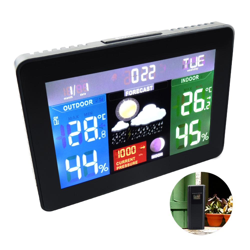 Wireless Sensors Weather Station, Color Display Radio Controlled Clock Barometer RH% Temperature Moon Phase 5 Weather Forecast