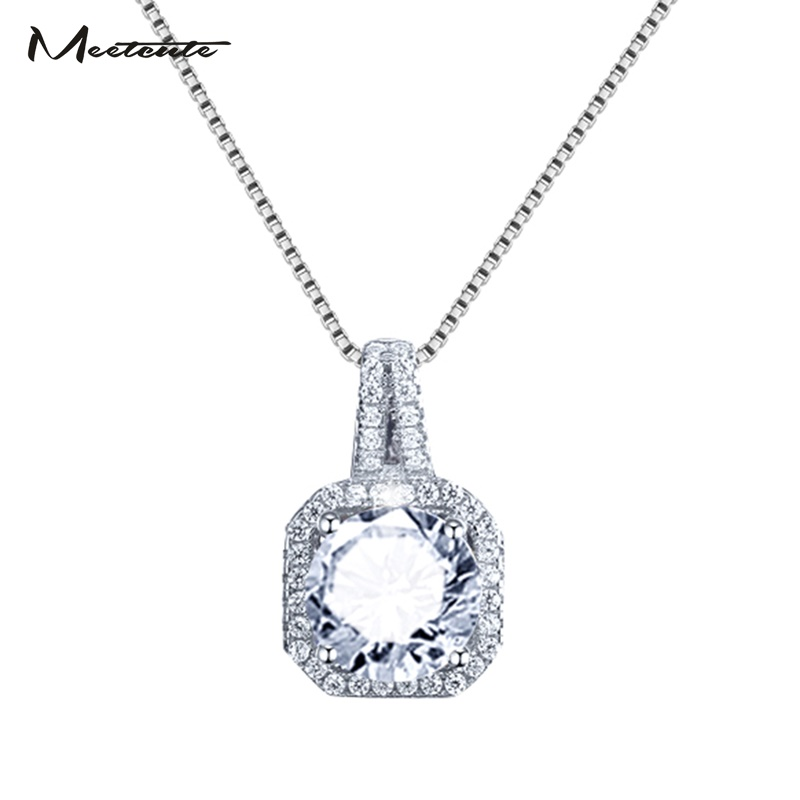 Meetcute New Fashion Zircon Necklace Square Cube Pandent Collar Necklace For Woman Cute/Romantic