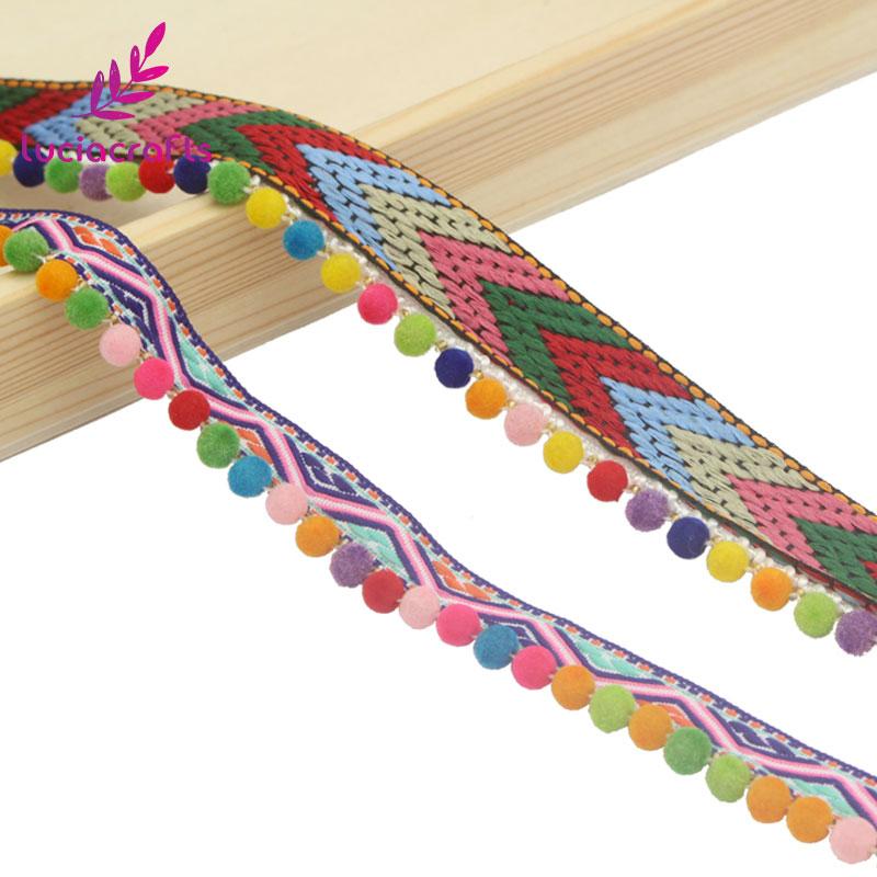 Colourful Mini Tassels Indian Woven Phulkari Gold Trim Ribbon Border Lace Ethnic