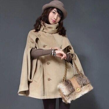 Осень Зима Большой размер женское кашемировое пальто стоячий воротник шерстяное пальто-накидка толстое шерстяное пальто - Цвет: Light tan