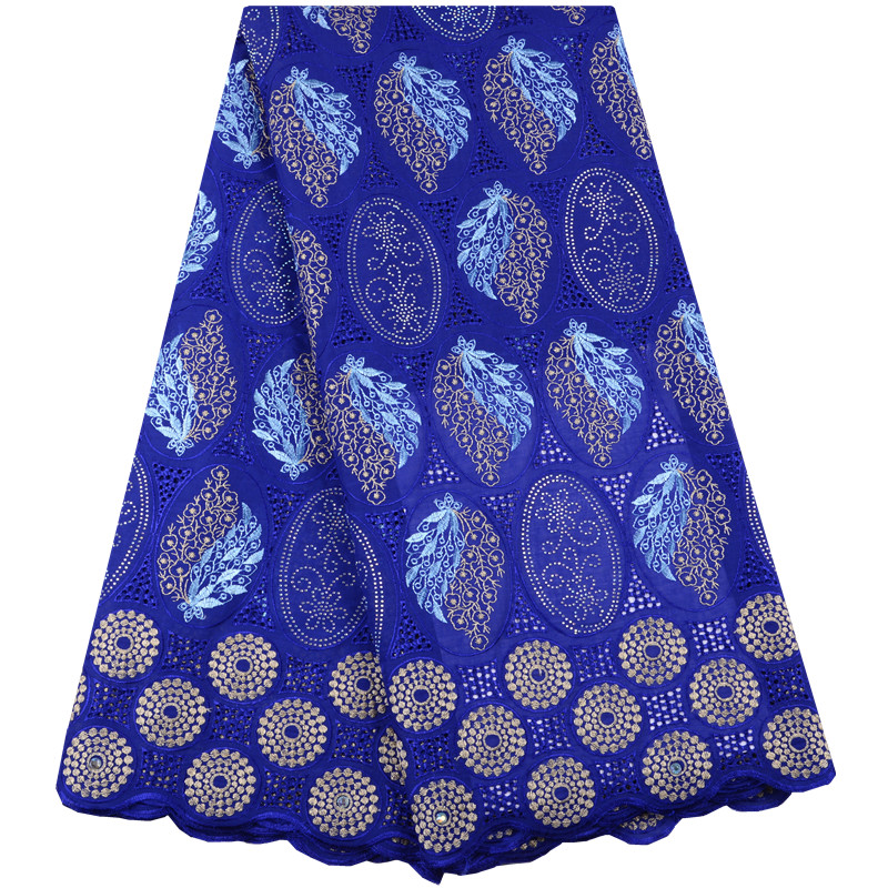 African Dry Lace Fabric High Quality France Lace Fabric Royal Blue Embroidery Swiss Voile Lace Cotton