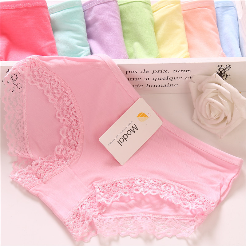 Sexy lace Women's Modal Underwear Female Briefs Underpants Lady Lingerie pure cotton high elastic candy color girl panties M XL