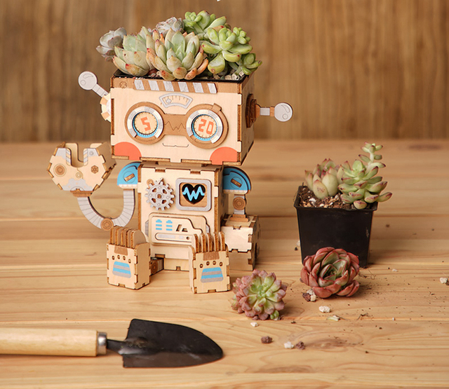 Robotime 3D Wooden Robot Puzzle Game Creative Flower Pot Storage Box Penholder Models Building Kits Toy for Children Adult FT761