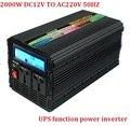Com função UPS potência do inversor 2000 w/peak 4000 w DC 12 V ou DC24V para AC 220 v 230 V inversor com display LCD digital + transporte rápido carregador
