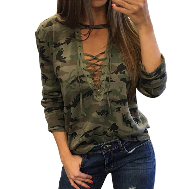 59708ebf54 Women Fashion Summer T-shirt Sexy Deep V-neck Criss-cross Lace up T Shirt  Casual Camouflage Long Sleeve T shirt Female Tee Tops