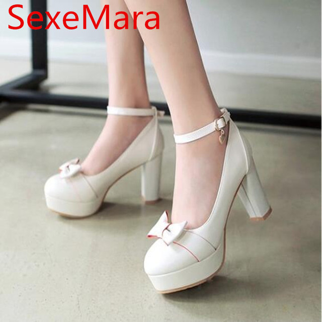 SexeMara Women Shoes High Heels Bridal Shoes Platform Pumps White Pink  Wedding Shoes 5a4585a7d804
