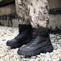 Man Hiking Shoes Black Sand Color Military Tactical Boots Autumn Winter Tracking Shoes Rubber Bottom Mens Combat Boots