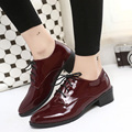 Fashion spring and autumn vintage pumps 4cm heel women patent leather medium heel shoes british style pointed toe lacing pumps