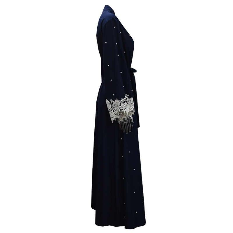 Mais tamanho robe malásia abaya dubai kaftan mulheres beading pérola rendas kimono cardigan muçulmano hijab vestido turco roupas islâmicas