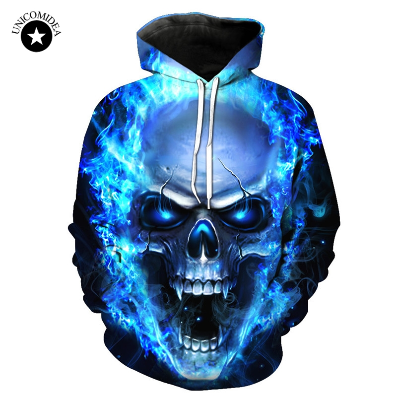 Blue Skull Men Hoodies Thin Sweatshirts 3D Funny Streetwear Hooded Spring Jackets Male Tracksuits Hip Hop Sweat Shirts Dropship