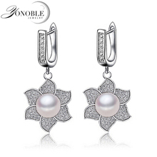 YouNoble Luxury Natural pearl earrings 925 silver Earrings for women wedding Pearl Earrings jewelry girl birthday gift white
