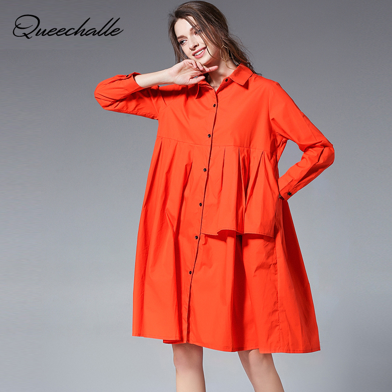 3xl 4xl Plus Size Cotton Shirt Dress For Women 2019 Spring Ruffles Long Sleeve Sweet Loose A-line Long Shirts Black Orange Khaki Easy To Lubricate