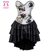 Burlesque Nude Women Printed White Cotton Push Up Sexy Corsets and Bustiers With Ruffle Swallowtail Skirt Gothic Corset Dress