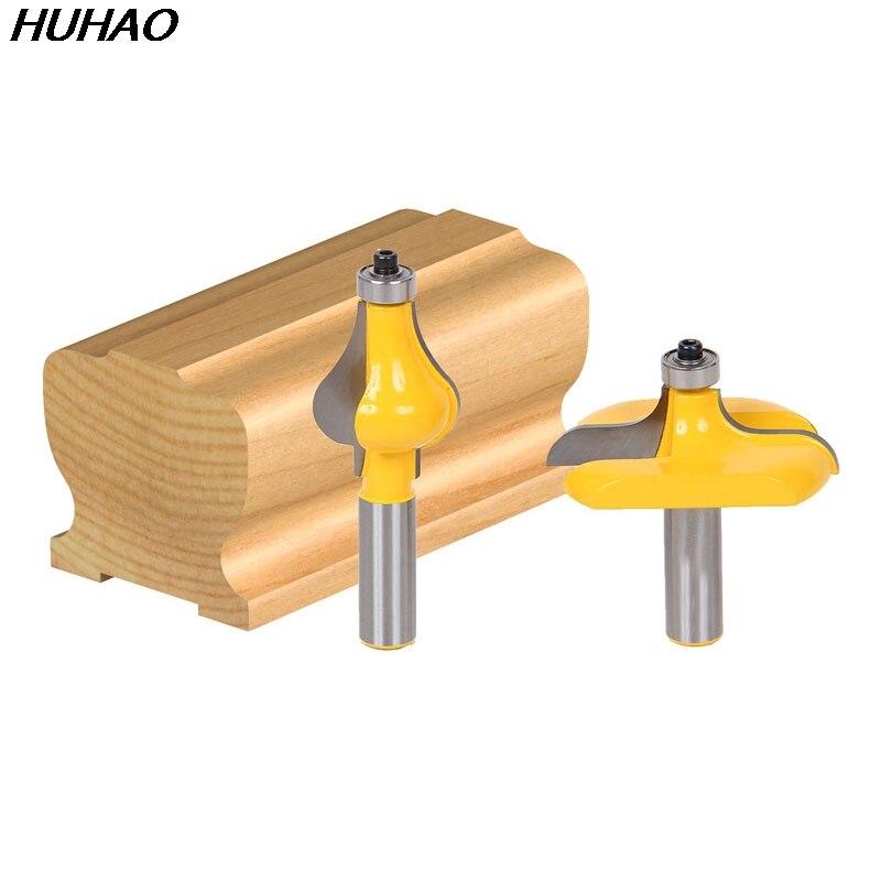 2pcs/set Bit Handrail Router Bit Set - Wavy/Flute - 1/2 Shank 1 2 x 2 1 8 dual flute corner roundover bit router