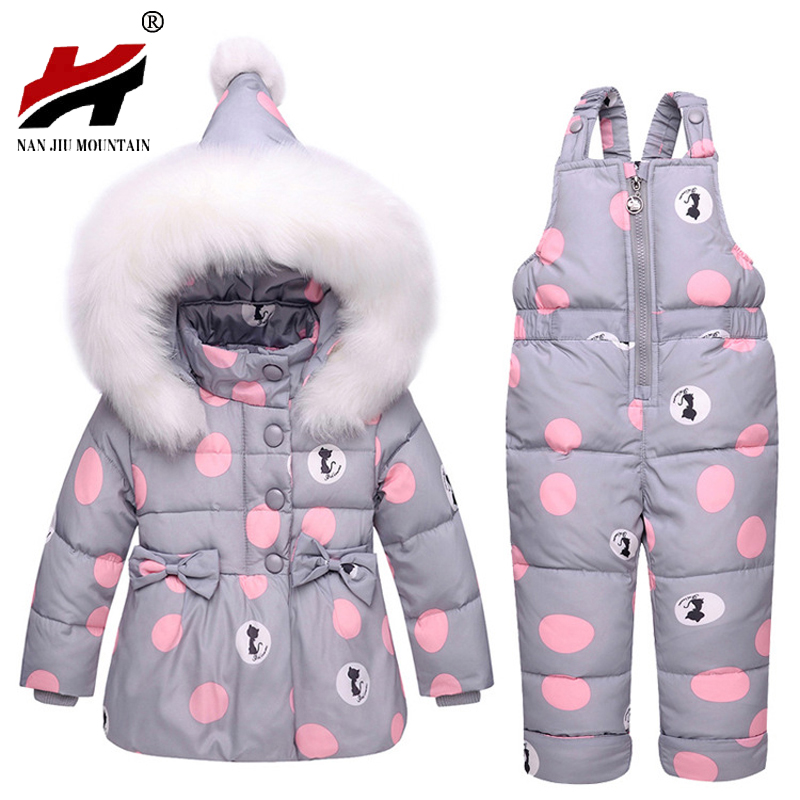 2017 New Winter Children Clothing Sets Girls Warm Parka Down Jacket For Baby Girl Clothes Children's Coat Snow Wear Kids Suit 2016 winter boys ski suit set children s snowsuit for baby girl snow overalls ntural fur down jackets trousers clothing sets