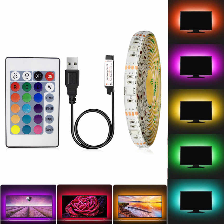 DC5V RGB USB Lampu LED Strip SMD 3528 Strip LED Tahan Air 0.5M 1M 2M 3M 4M 5M TV Backlight Bande Dekorasi Lampu dengan Remote