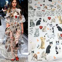 285X145cm Fashion Week Runway Lovely Cats English Letters White Chiffon Fabric for Woman Girl Summer Long Beach Dress DIY