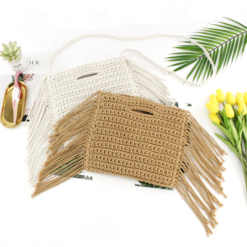 Tassels hand held Handmade Cotton Rope Hollow Out Woven Fringe Bag Trend Womens woven Handbag Straw Bag For LadiesTassels hand held Handmade Cotton Rope Hollow Out Woven Fringe Bag Trend Womens woven Handbag Straw Bag For Ladies