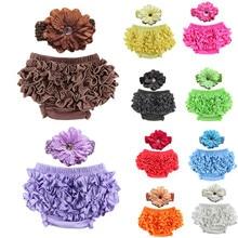 Комплект из трусиков и повязки на голову для маленьких девочек трусики-пачки с оборками для новорожденных для маленьких девочек кружевные шорты с оборками для малышей