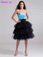 Blue Black Strapless Short Homecoming Dresses 2017 Knee Length Simple Tiered Tulle Teens Short Prom Party