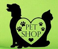 DCTAL Pet Shop Vinyl Wall Decal Pet Shop Sign Lettering Dog Cat Mural Art Wall Sticker