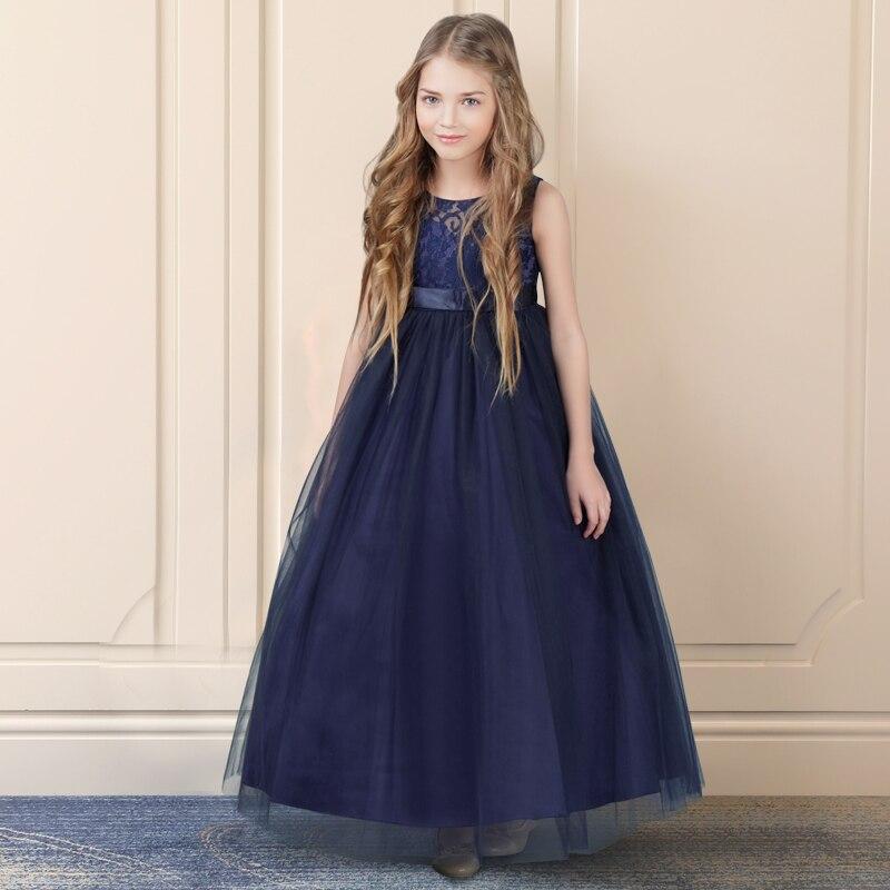 紺 petites filles ローブ王女のレースの花のドレスチュール女の子 Peagant ドレス初聖体ドレス